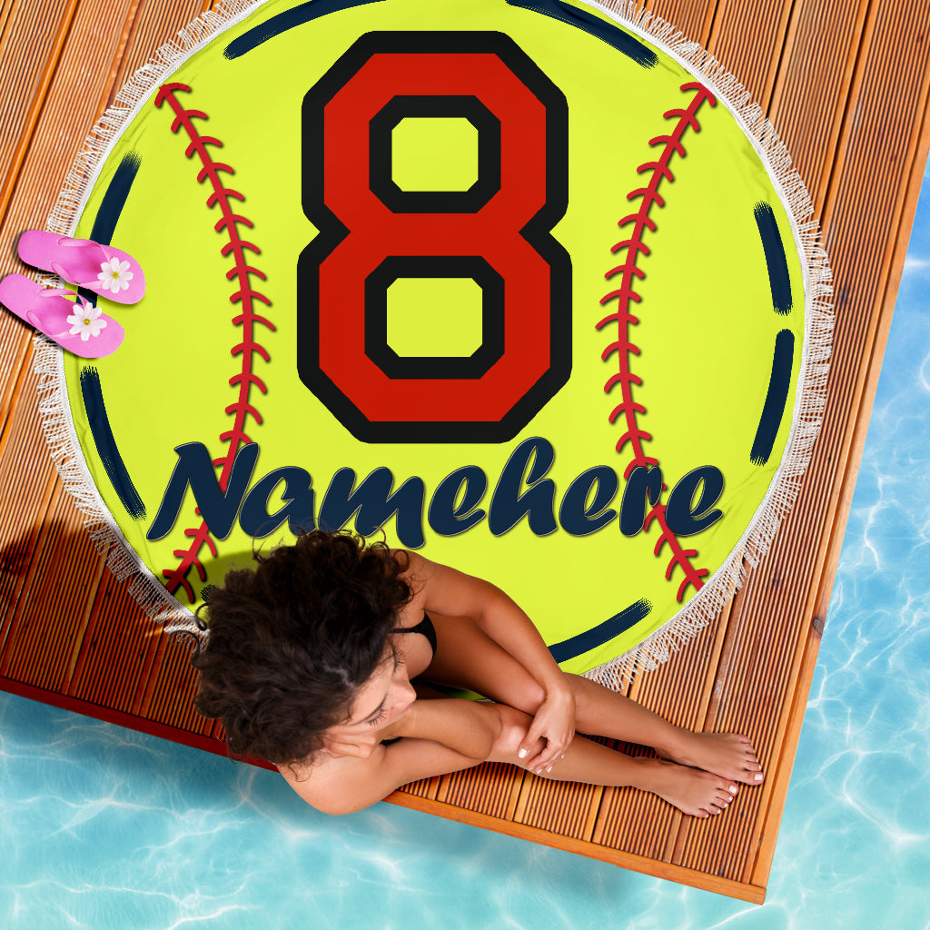 Personalize Name Softball Blanket 2