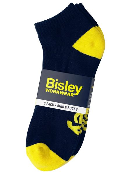 Bisley Work Ankle Socks Navy 3pk