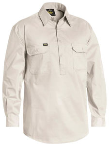 Bisley Cool Lightweight Drill Shirt Closed Front Long Sleeve- 3 Colours
