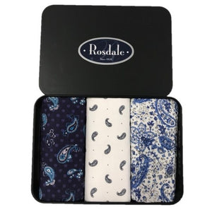 Rosedale Mens Tin of 3 Hankies Design 4