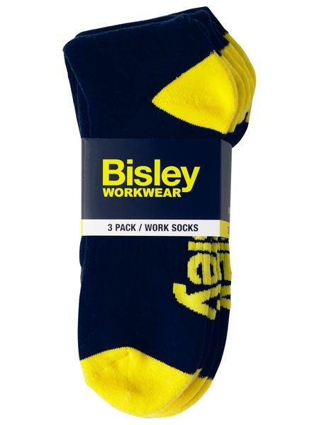 Bisley Work Socks Navy 3pk - 2 Sizes