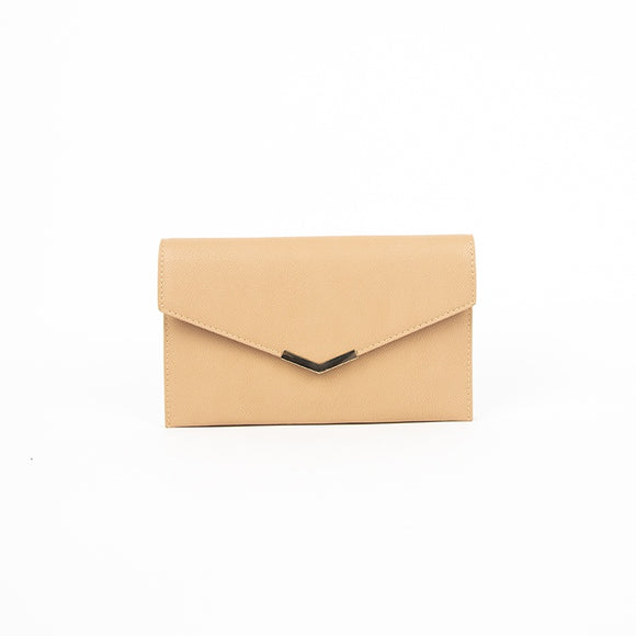 Adorne Mini Envelope Double Compartment Clutch - Dark/Camel