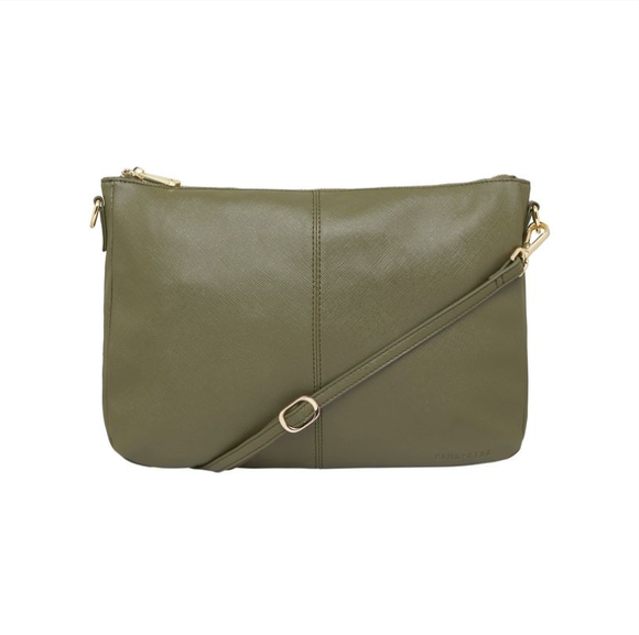 Elms & King Bowery Soft Shoulder Bag - Khaki Saffiano
