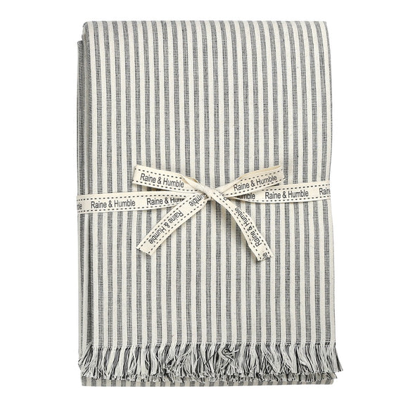 Raine & Humble Manor Stripe Tablecloth - Charcoal