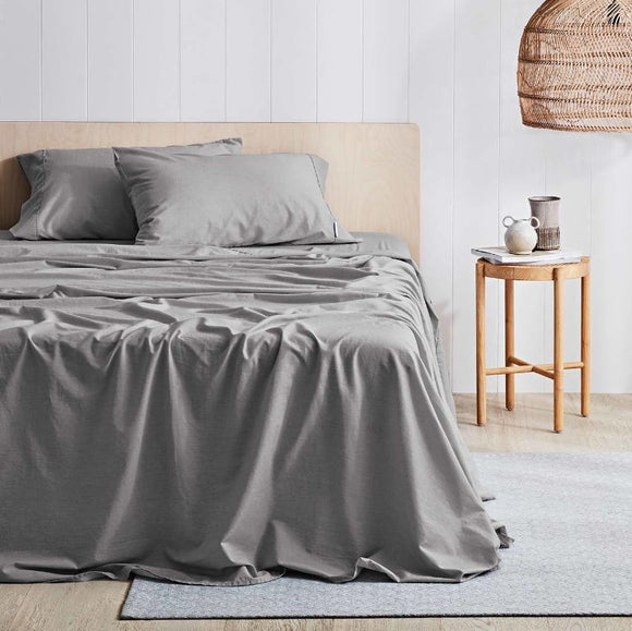 Canningvale Antica Printed Stonewash Sheet Set - King Single - 3 Colours