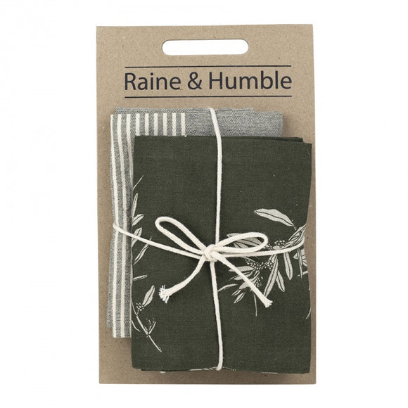 Raine & Humble Olive Grove Tea Towel Pack- Olive