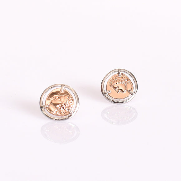 Adorne Two Tone Roman Empress Stud Earrings - Rose/Silver