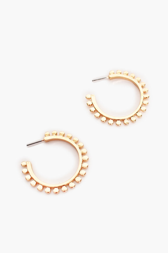Adorne Dot Edged Metal Hoops - Gold