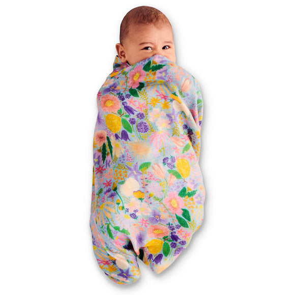 Kip & Co Bamboo Baby Swaddle - Meadow Blue