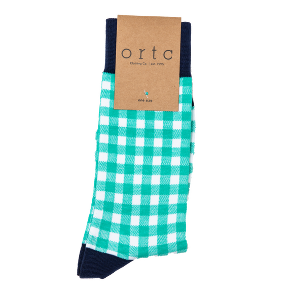 Ortc green gingham check socks