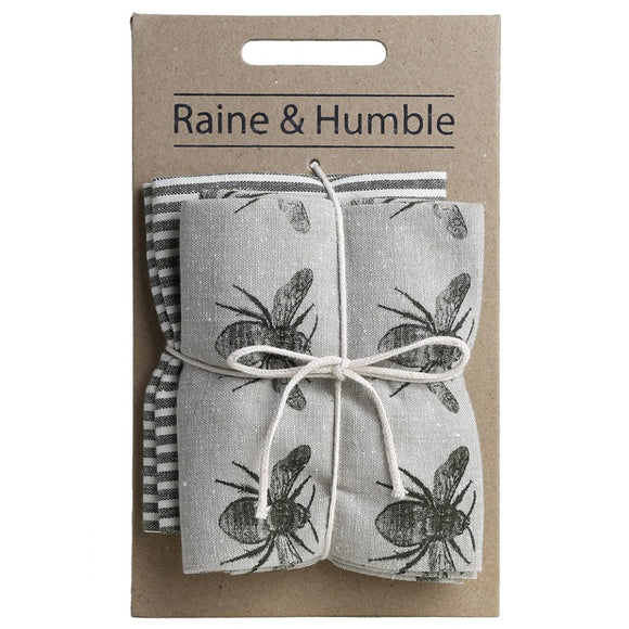 Raine & Humble Honey Bee Tea Towel Pack - Olive Green