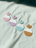 Hello Ashto Circle Drop Colour Block Earrings - Various Colours