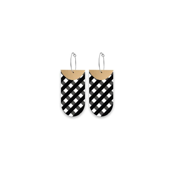 Moe Moe Ebony Striped Gingham Layered Tab Hoop Earrings