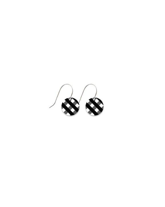 Moe Moe Ebony Striped Gingham Small Circle Drop Earrings