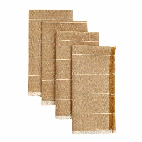 Raine & Humble Wild Stripe Napkin Set of 4 - Mustard