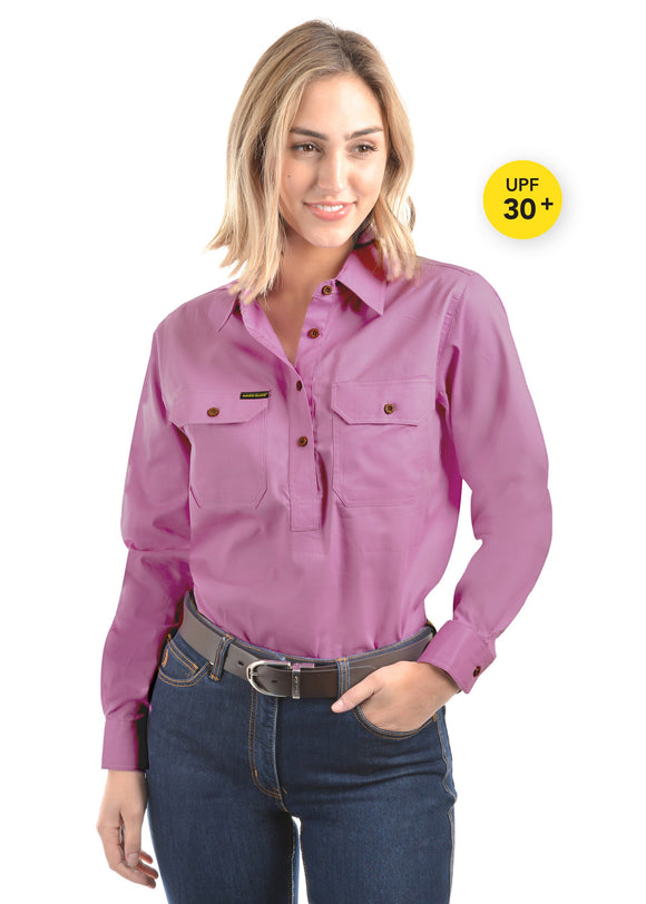 Hard Slog Womens Light Cotton Drill Shirt - Violet