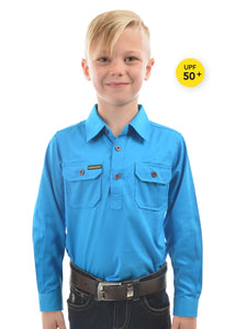 Hard Slog Kids Light Cotton Drill Shirt - Bright Blue