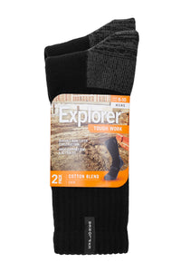 Explorer Tough Work Socks 2pk -  Black