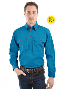 Thomas Cook Unisex Heavy Drill Work Shirt - Aqua