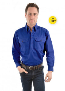 Thomas Cook Unisex Light Drill Work Shirt - Cobalt