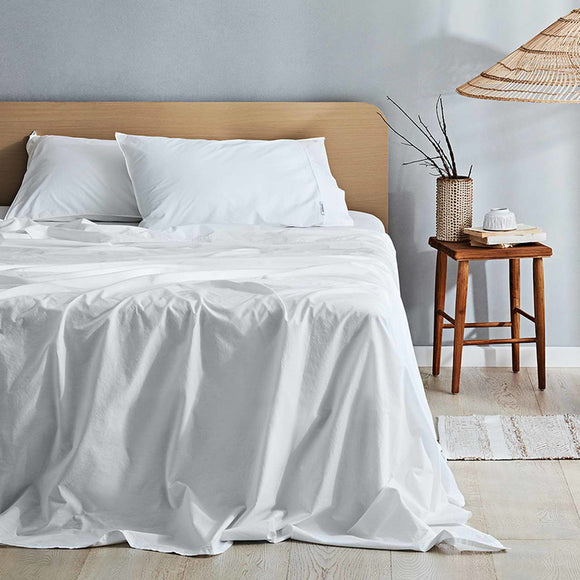 Canningvale Vintage Softwash Sheet Set - KSB - White