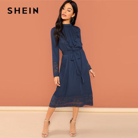 9adca98351 SHEIN Navy Going Out Weekend Casual Pleated Ruffle Trim Lace Trim Dress  2018 Autumn Long Sleeve