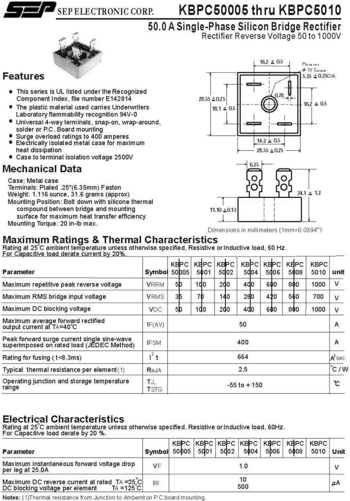 Kbpc5010 Datasheet Electronics: Kbpc5010 Bridge Rectifier Wiring Diagram At Eklablog.co
