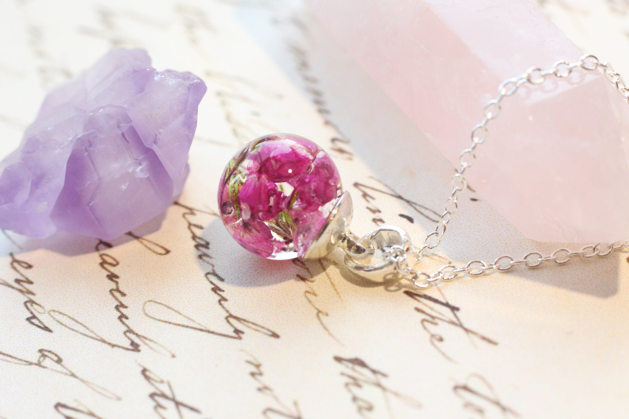 Heather Flower Tiny Orb Necklace Chikarins House