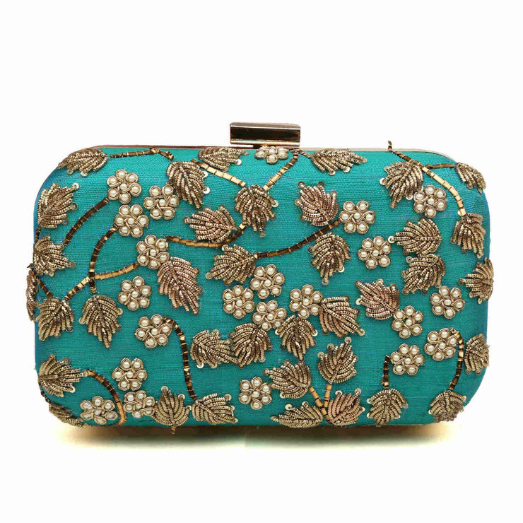 Bloom Teal Clutch