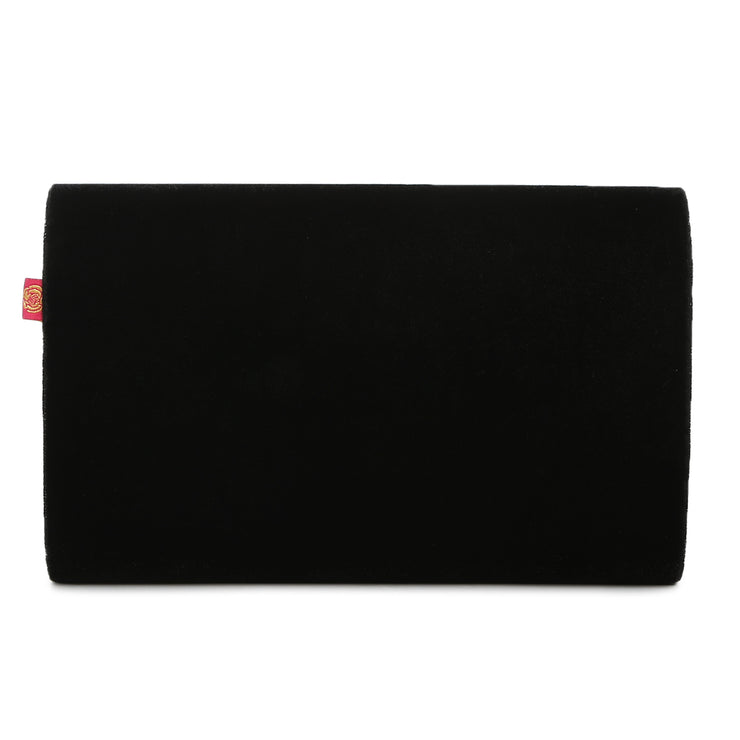 Black Velvet Flap Clutch