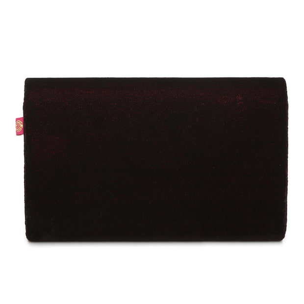 Red Velvet Flap Clutch