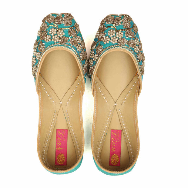 Bloom Teal Juttis (Made to order)