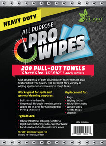 "Wiping Cloths on a Roll - 200 Heavy Duty Towels per box 16"" x 10"""