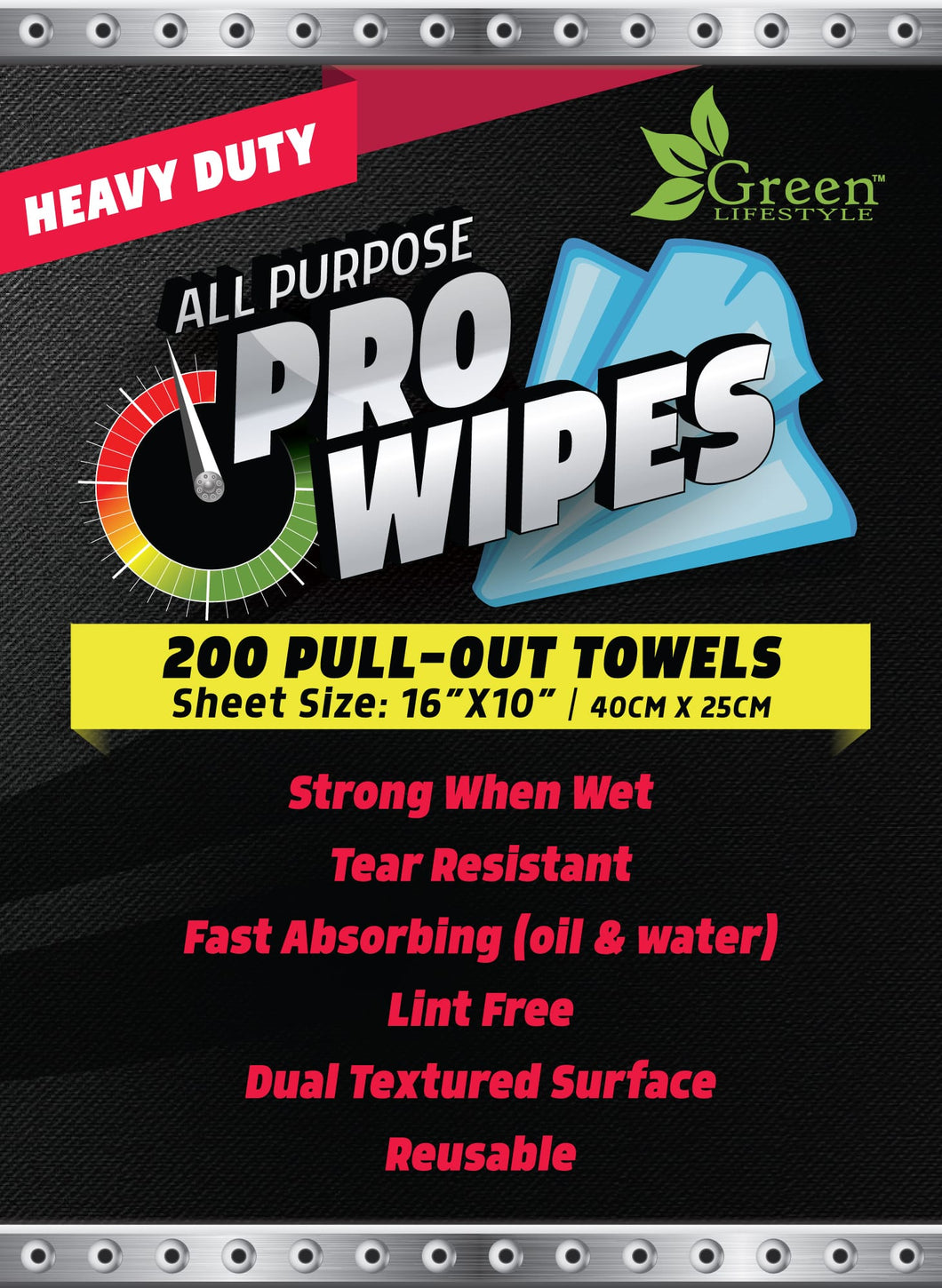 Wiping Cloths on a Roll - 200 Heavy Duty Towels per box 16