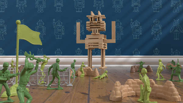 Brain Blox Robot Battling Toy Army Men