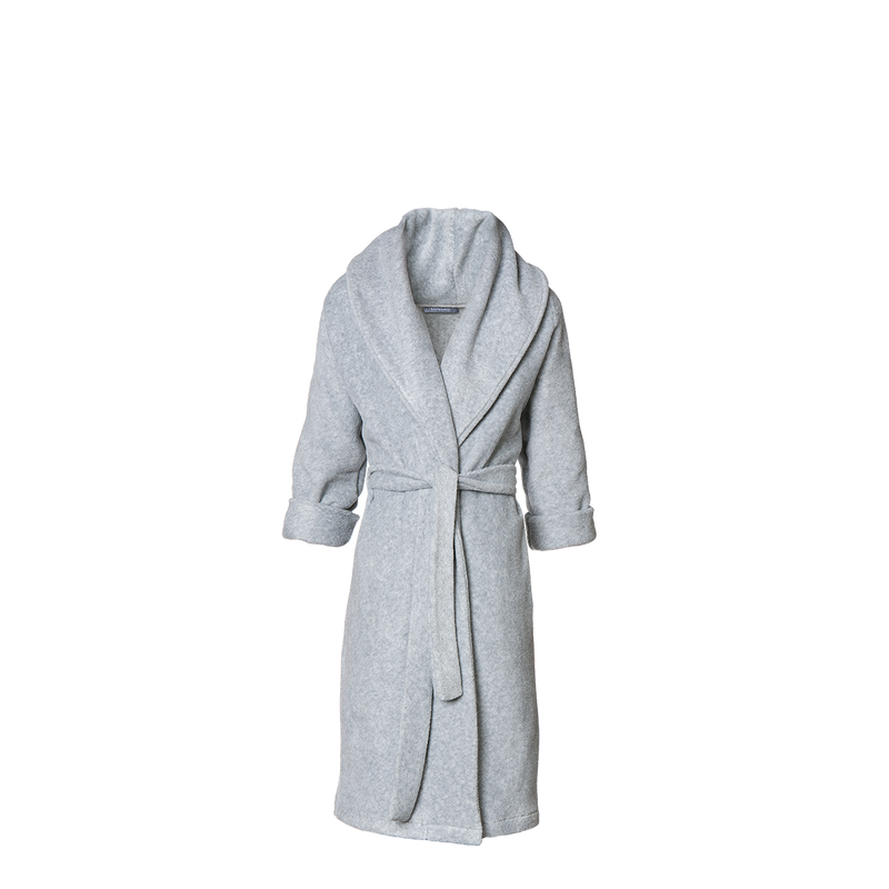 Karmameju Fleece Bathrobe, MOUNT FUJI, Light Grey