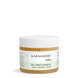 Karmameju Salt Body Scrub Travel Size, MORE 03, contains 50 ml