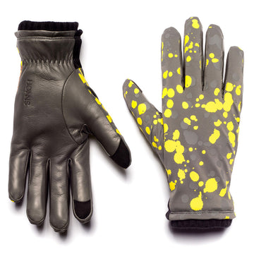 HONNS Logan Lime Leather Splatter Glove