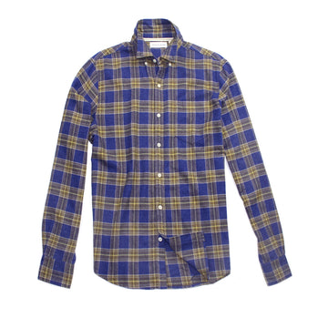 Cobalt / Gold Brushed Cotton Flannel Shirt by Natural Blue