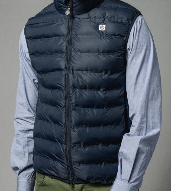 Navy Quilted Down Vest by Serge Blanco