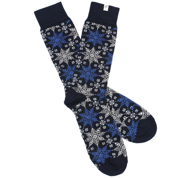 Navy Snowflakes Organic Cotton Socks by 40 Colori Italy