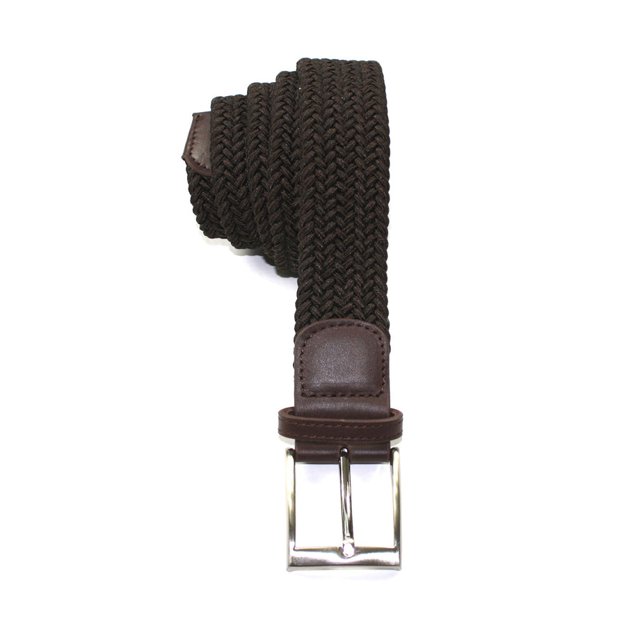 Dark Brown Leather Trimmed Woven Stretch Belt
