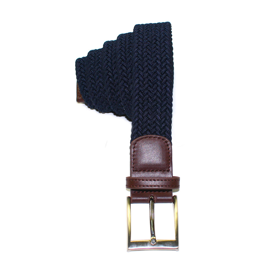 Dark Navy Leather Trimmed Woven Stretch Belt