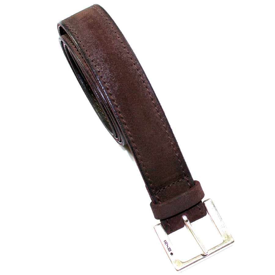 Distressed Chocolate Sueded Italian Calf Belt by ORCIANI