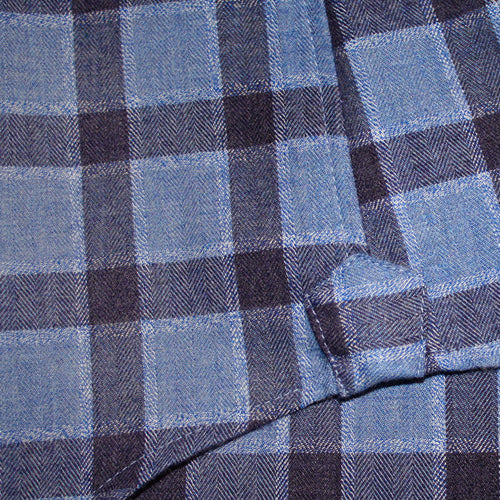 Navy / Blue Italian Brushed Cotton Check Shirt by ORDEAN