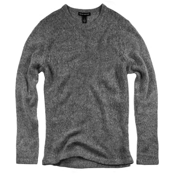 charcoal wool cashmere lofty knit crewneck sweater