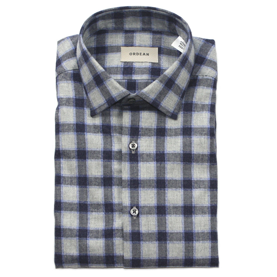Heather Grey + Navy Check Brushed Cotton Shirt by ORDEAN
