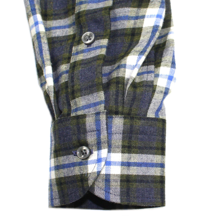 Multi Green Blue Plaid Brushed Italian Cotton Shirt by ORDEAN