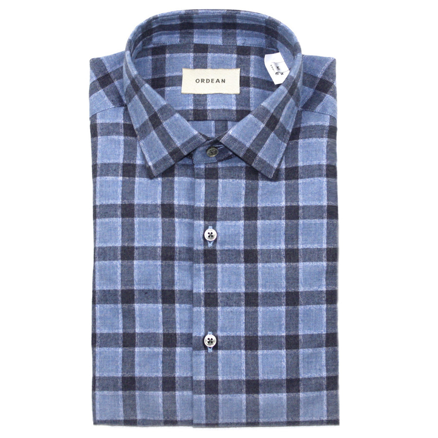 Cadet Blue / Navy Brushed Cotton Check Shirt by Ordean