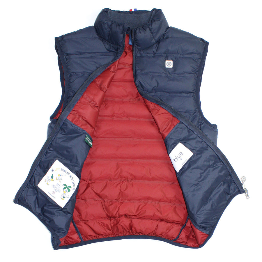 interior photo of men's navy puffer vest showing interior pockets